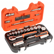 """Bahco S330 3/8"""" Hex Socket Set (10mm - 22mm) with Ratchet & Bits - 34 Pieces"""