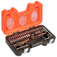 """Bahco S460 1/4"""" Hex Socket Set (4mm - 13mm) with Ratchet & Socket Drivers - 46 Pieces"""