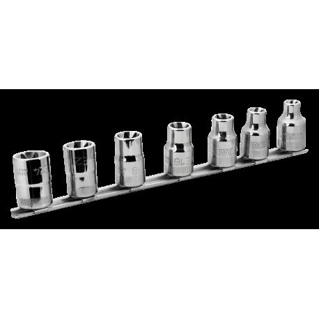 "Bahco 7807TE 1/2"" Torx Socket Set on Rail (E10 - E24) - 7 Pieces"