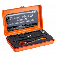 """Bahco 6712R 1/4"""" Hex Socket Set (4mm - 13mm) with Pear Head Ratchet - 12 Pieces"""