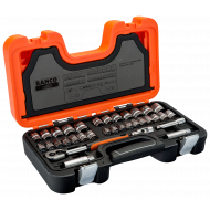 "Bahco S380 3/8"" Hex Socket Set (1/4"" - 7/8"" & 6mm - 22mm) with Ratchet & Breaker Bar - 38 Pieces"